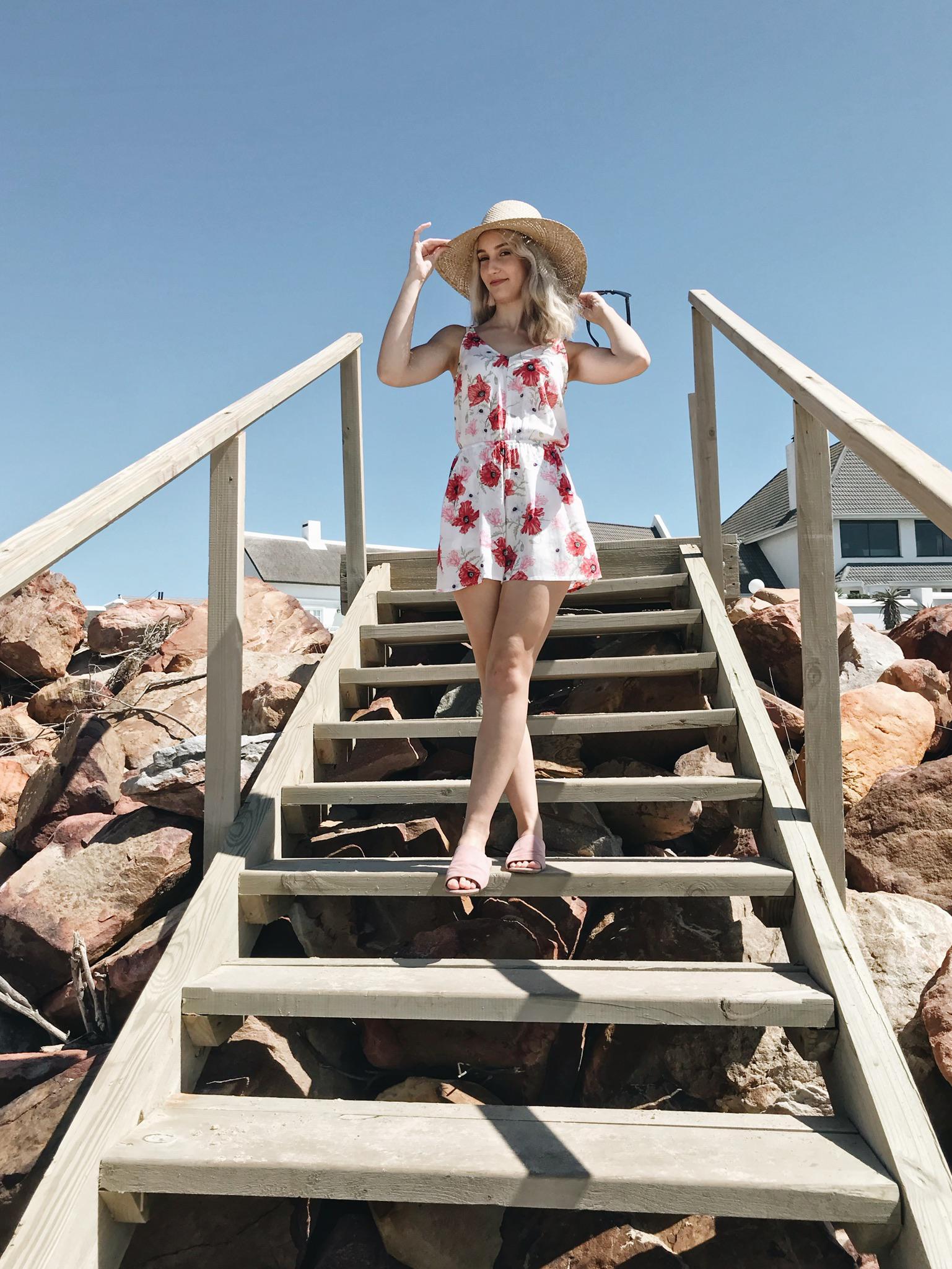 Lauren Carmen on beach steps